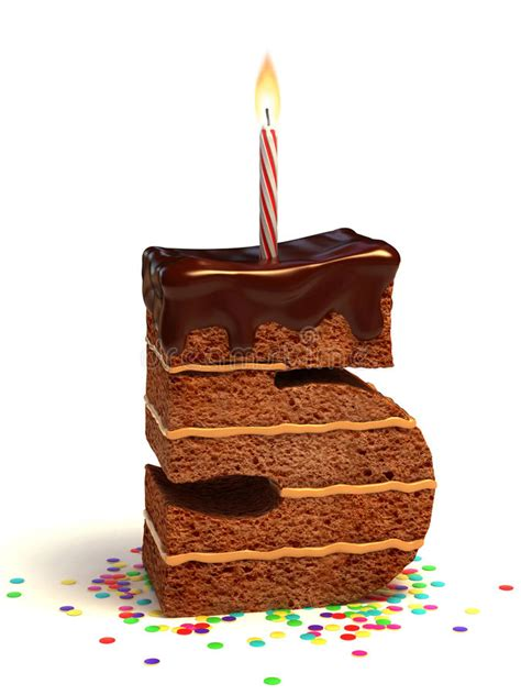number  shape birthday cake stock illustration
