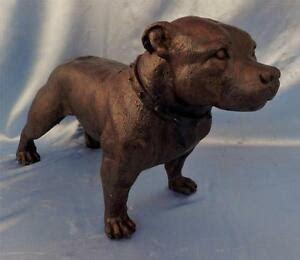 large bronze american pit bull terrier dog sculpture