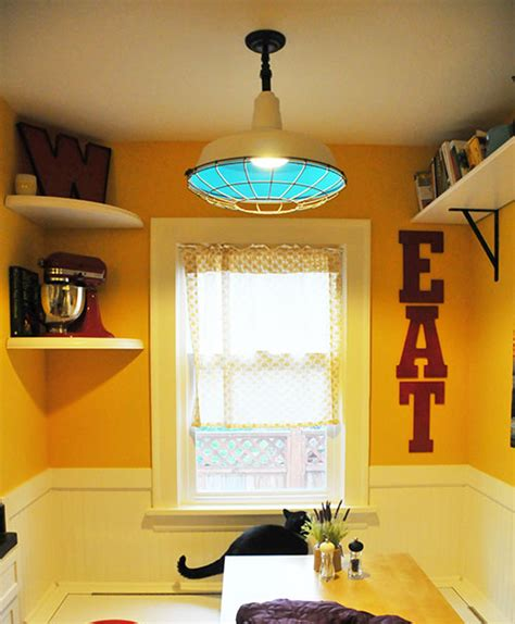 my kitchen nook diy upcycled industrial light fixture