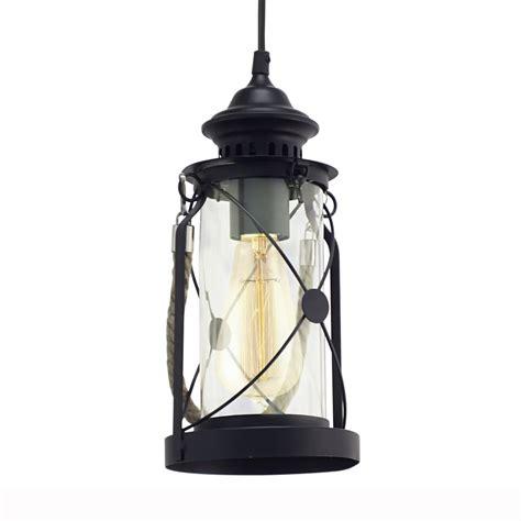 black lantern pendant light eglo 49213 bradford black lantern style pendant light