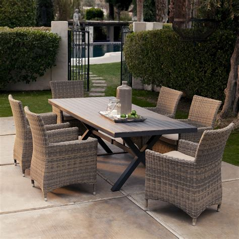 Patio Table Set by All Weather Wicker Patio Dining Set Seats 6