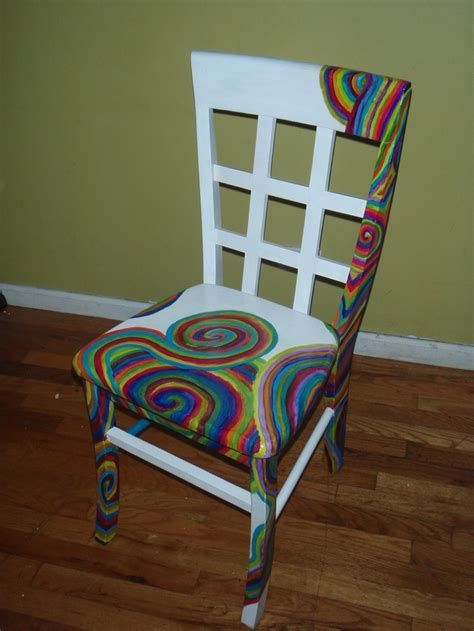hand painted swirl spiral rainbow chair  stuffbyjenb