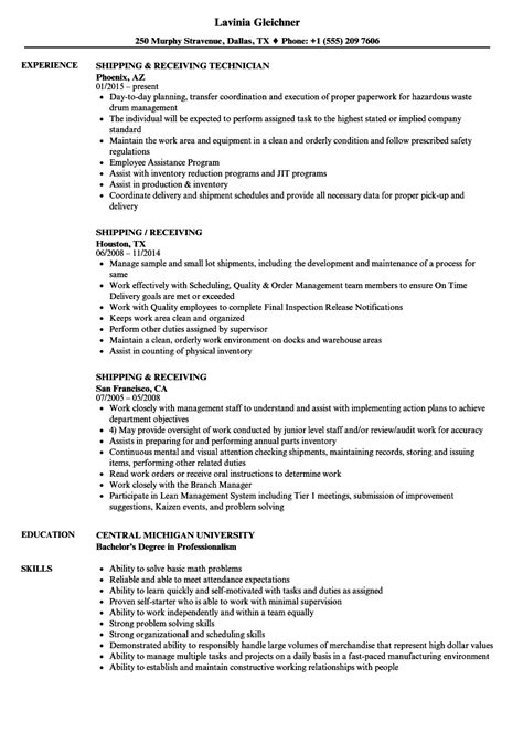 Shipping And Receiving Resume by Shipping And Receiving Description For Resume