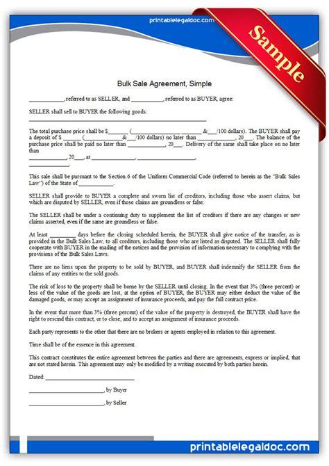 printable bulk sale agreement simple form generic