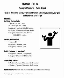 personal trainer workout template - rate sheet template 10 free sample example format