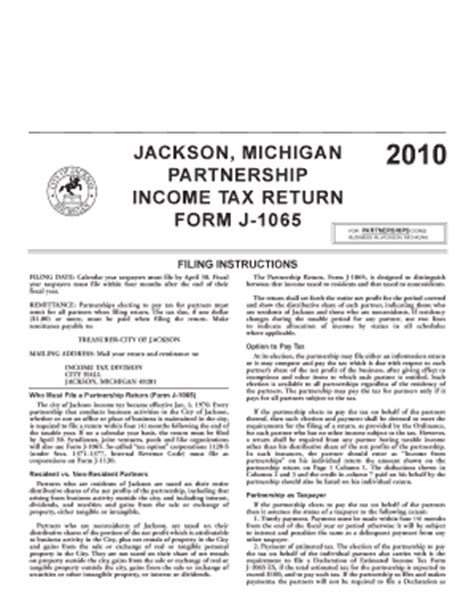 jackson michigan partnership income tax return form j 1065