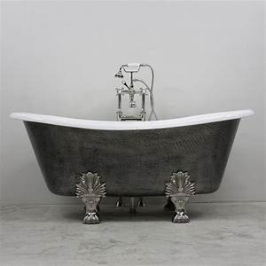 39The Thornton39 68quot Cast Iron French Bateau Clawfoot Tub