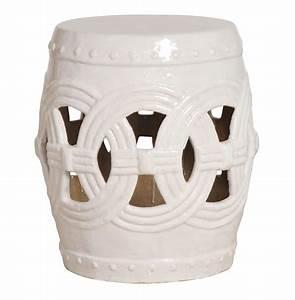 White pierced linked fortune asian ceramic garden seat stool for White garden stool