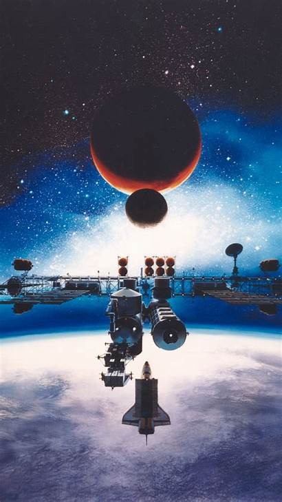 Space Station Moon Galaxy Earth Mars Universe