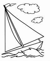 Coloring Boat Sailboat Simple Printable sketch template
