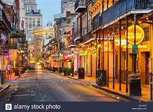 Bourbon Street in the early morning. The renown nightlife ...