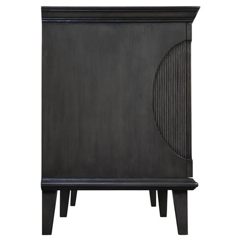 Oval Sideboard by Shania Loft Black Fluted Oval Mahogany Wood Sideboard