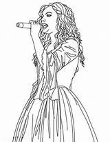 Coloring Swift Taylor Sing Singer Singing Female Template Drawings Colorluna sketch template