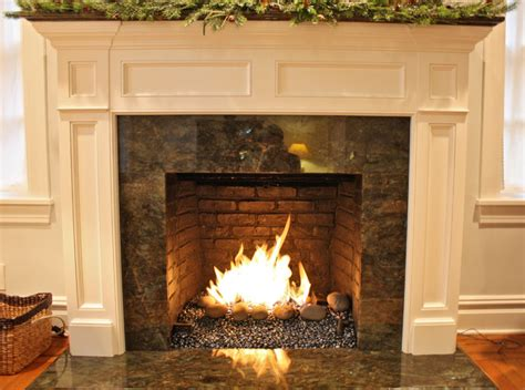 fireplace glass rocks gas burner with glass and rock media contemporary
