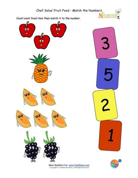 fruit and vegetable worksheet for crafts and 704 | Preschool Matching Foods and Numbers Activity 1