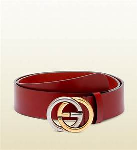 Gucci Belt with Bicolor Interlocking G Buckle in Red for ...
