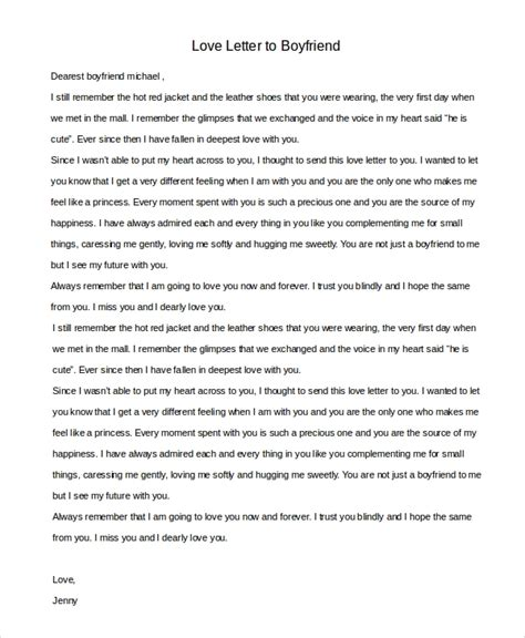 sample love letter  boyfriend  examples  word