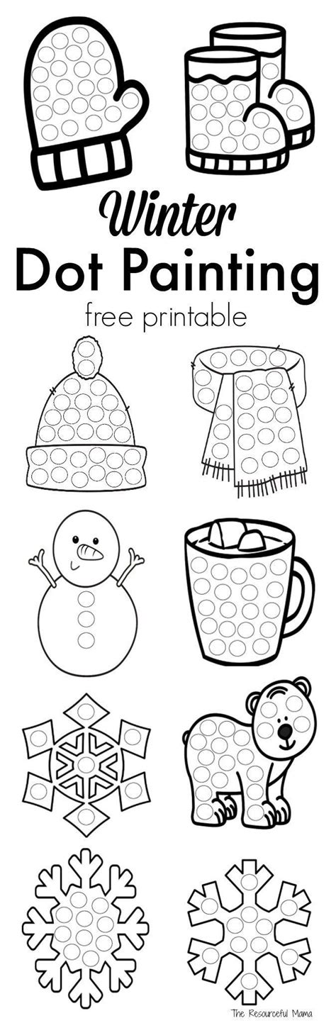 winter dot painting  printable  images