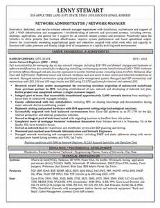 Networking Resumes by Network Manager Resume Exle