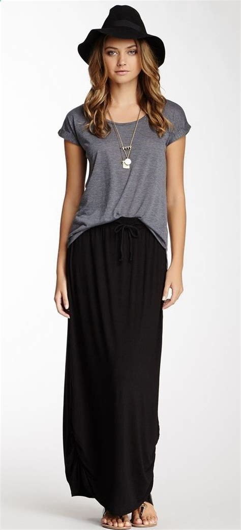 Maxi Black And Grey ruched side maxi skirt black and gray simple comfortable