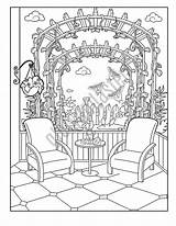 Coloring Patio Adult Summer Garden Printable Paper sketch template
