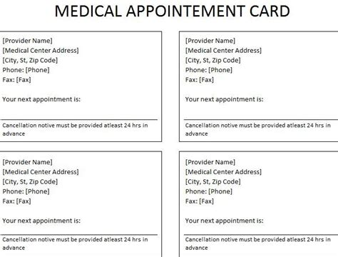 medical appointment card appointment cards  medical