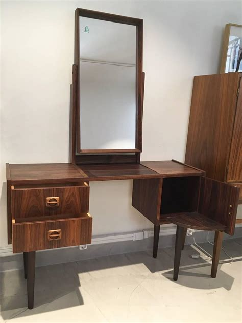 mid century vanity table mid century rosewood vanity table with mirror for