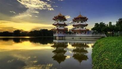 Japanese Temple Pagoda Nature Singapore Sunset Landscape
