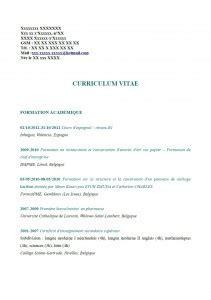 modèle cv lycéen sans expérience lettre de motivation 233 tudiant belgique