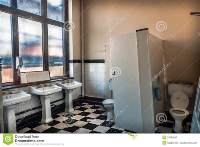 abandoned public toilet stock photo image