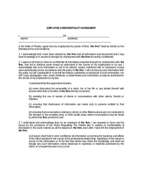 employee confidentiality agreement   word