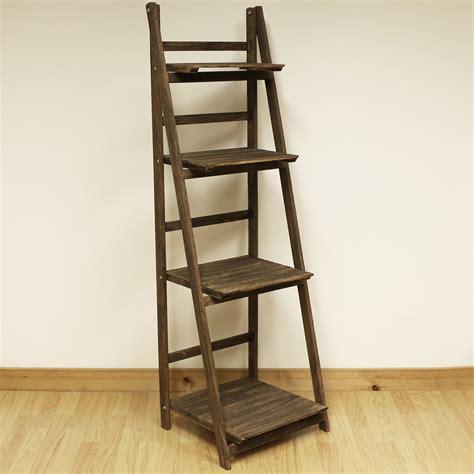 tier brown ladder shelf display unit  standing