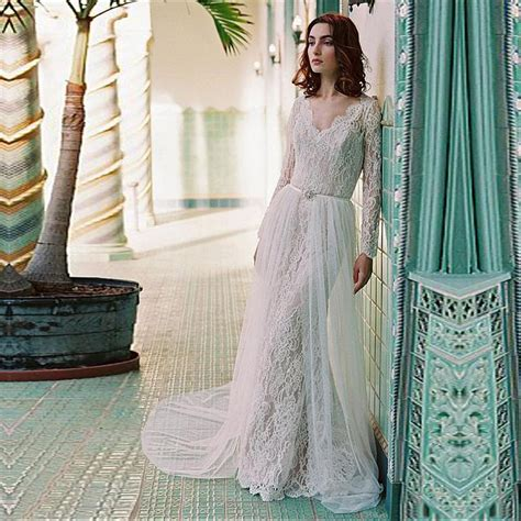 Elegant boho Wedding Dresses 2017 new long sleeves appliques lace beach wedding guest gown tulle ...