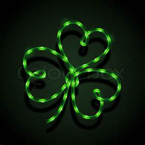 Glowing neon sign Shamrock vector Eps10 illustration