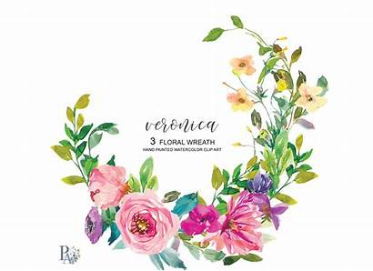 Wreath Watercolor Clipart Flowers Summer Colorful Thehungryjpeg