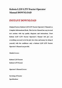 Kubota L235 L275 Tractor Operator Manual Download By Chen