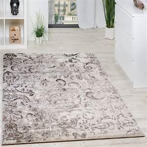 Teppich modern webteppich hochwertig mit floral muster for Balkon teppich mit tapeten beige mit muster