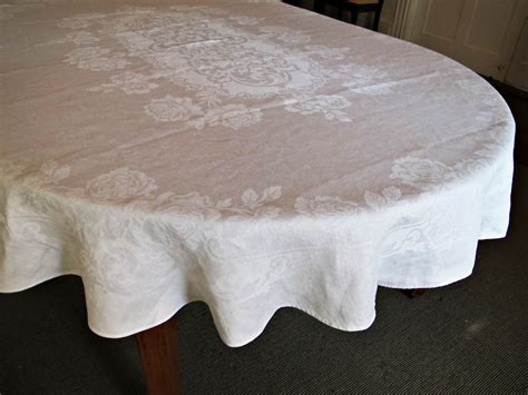 tablecloth for oval table oval oblong banquet tablecloth vintage damask linen