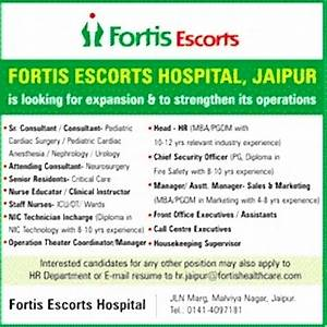 Jobs in Fortis Escorts Hospital Jaipur, Vacancies in
