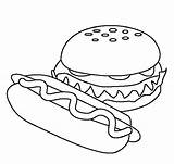 Coloring Hamburger Fast Pages Drawing Printable Dog Models Clipart Colouring Sheets Easy Hamburgers Dinner Fun Draw Burgers Drawings Ice Cream sketch template