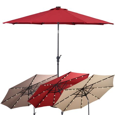 10 ft patio solar umbrella with crank and led lights outdoor umbrellas sunshades outdoor