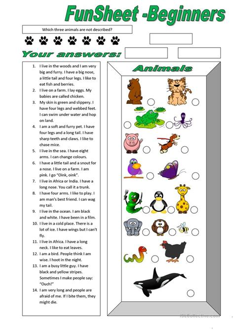 funsheet for beginners animals worksheet free esl