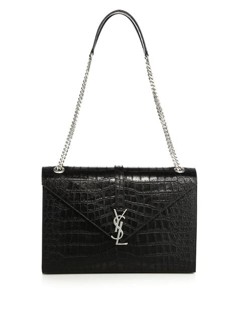 lyst saint laurent monogram medium crocodile embossed
