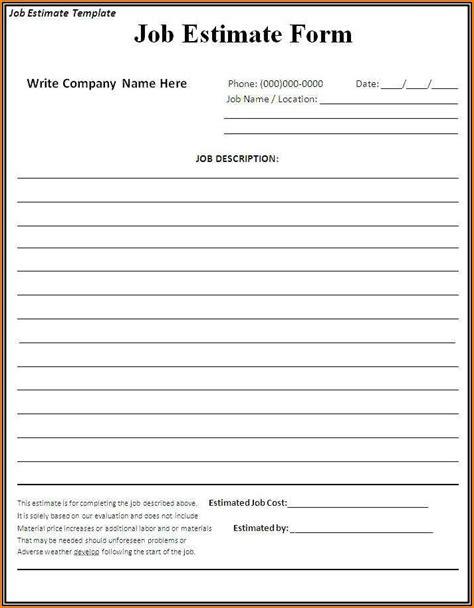 printable estimate forms contractors form resume