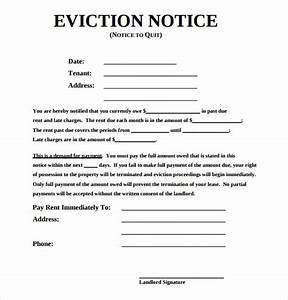sample eviction notice template 17 free documents in With free sample eviction letter
