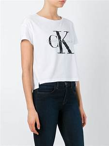 Calvin klein jeans Cropped Cotton Top in White | Lyst