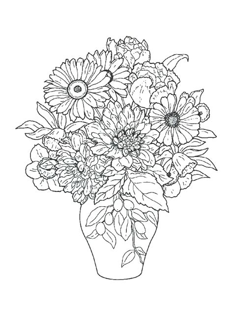 bouquet  flowers coloring pages  childrens printable