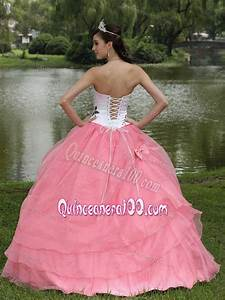 Pink and White Embroidery Strapless Quince Dresses with ...