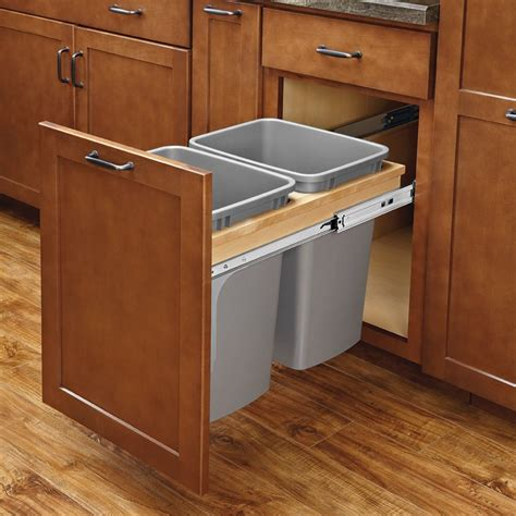 pull out trash cabinet rev a shelf double trash pullout 35 quart w soft close