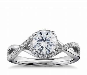 1 4 ct tw twisted halo diamond engagement ring in 14k for Halo engagement rings with wedding bands